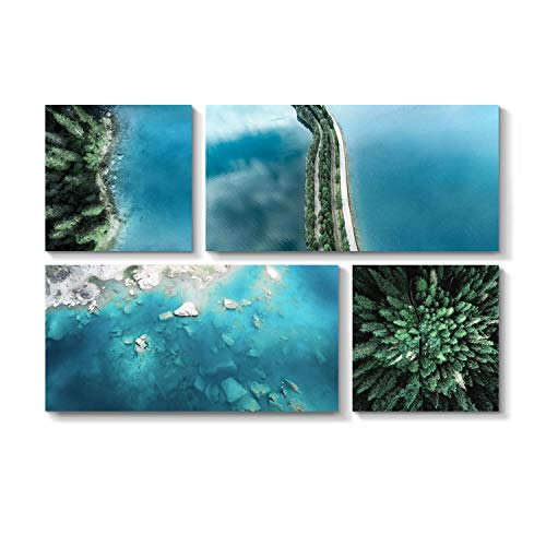 - Aerial Shots Artwork Beach Picture - Aqua Blue Waters Graphic Print on Canvas for Wall