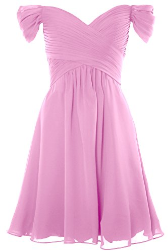 MACloth Women Off Shoulder Cocktail Dress 2018 Short Wedding Party Formal Gown Rosa