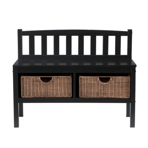 Southern Enterprises Storage Bench with Rattan Baskets, Black Finish (Small Entryway Bench With Storage)