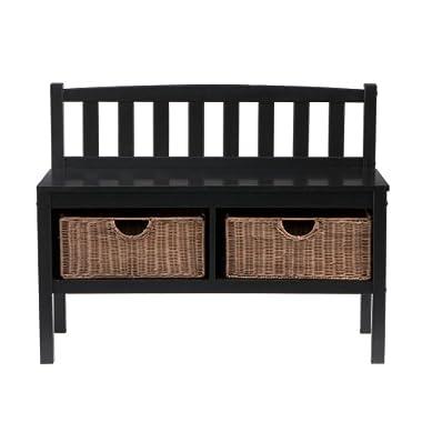 Bench w/ Rattan Baskets - Black