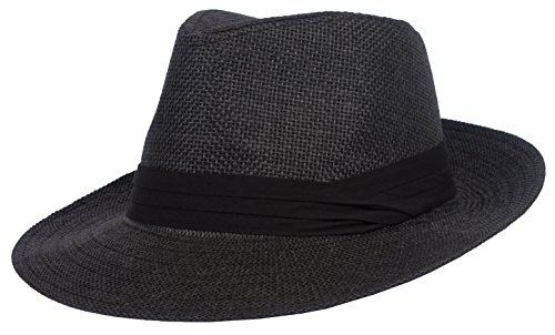 (DRY77 Summer Cool Outback Panama Wide Large Brim Fedora Straw Hat Men Women, S/M, Black)