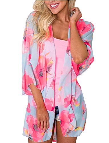Floral Chiffon Wrap (BB&KK Floral Beach Sheer Boho Kimono Cardigan Robe Cover up Dress Jacket Plus Size)