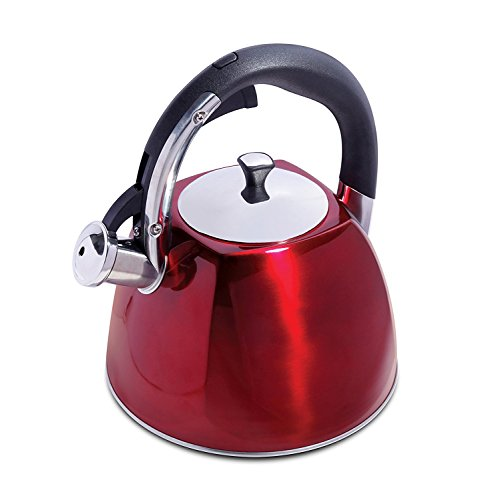 2.5 Quart Red Stovetop Tea Kettle – Stylish Tea Kettle Stainless Steel - Whistling Tea Kettle w/ ABS Handles