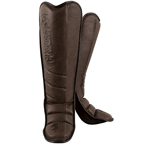 Hayabusa Kanpeki Elite 2.0 Grappling Shin Guards, Large, Brown - Grappling Shin Instep Guards