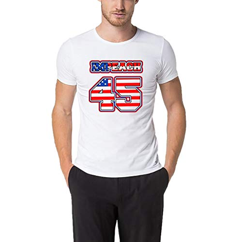 (Independence Day Hot!Ninasill Men's Patriotic Letter Printed T-Shirt Large Size Short Sleeve Tops Exclusive Tank Tops White)