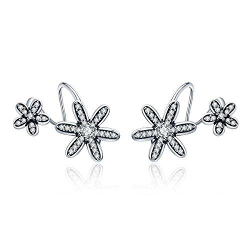 WOSTU 925 Sterling Silver Daisy Wrap Pin Earrings Ear Crawler Cuff Vine Climber Stud Earrings Womens