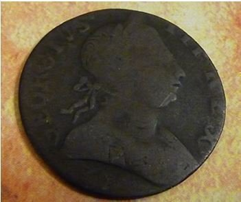 Colonial copper half penny coin - real - used in 1700s America before and after American - Coin Penny Half