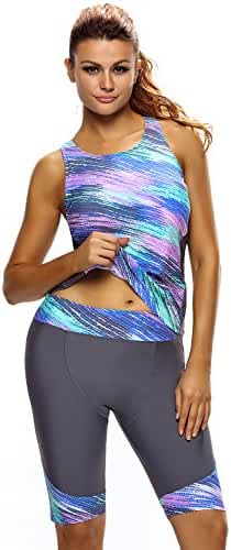 Farysays Women's Sleeveless Top and Cropped Pants Two Piece Unitard Tankini Swimsuit