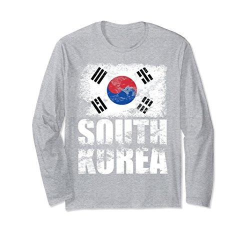 Korea Country Flag (Unisex South Korea Flag Long Sleeve Shirt | Korean Flag Tee Gift XL: Heather Grey)