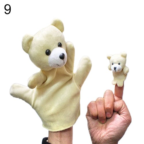 2Pcs Lovely Kids Baby Plush Toys Finger Puppet Talking Props Animals Hand Puppets 6X96^beige.