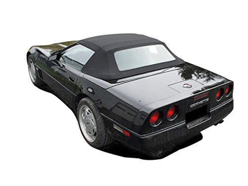 Fits: Chevrolet Corvette Convertible Soft Top With Plastic Window Vinyl (1986-1993) (Black)