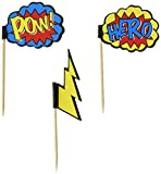 Ginger Ray Comic Superhero Pow & Hero Party Cupcake Picks (20 Pack), Mixed