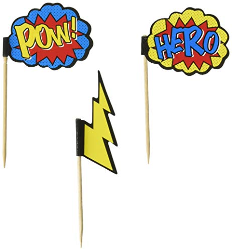 Ginger Ray Comic Superhero Pow & Hero Party Cupcake Picks (20 Pack), Mixed -
