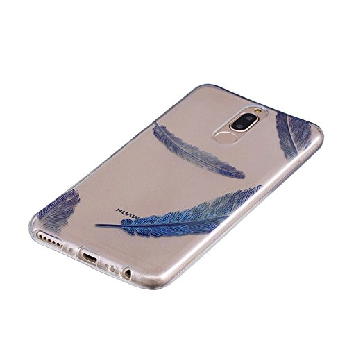 Funda para Huawei Mate 10 Lite , IJIA Transparente Azul Pluma TPU Silicona Suave Cover Tapa Caso Parachoques Carcasa Cubierta para Huawei Mate 10 Lite (5.9)
