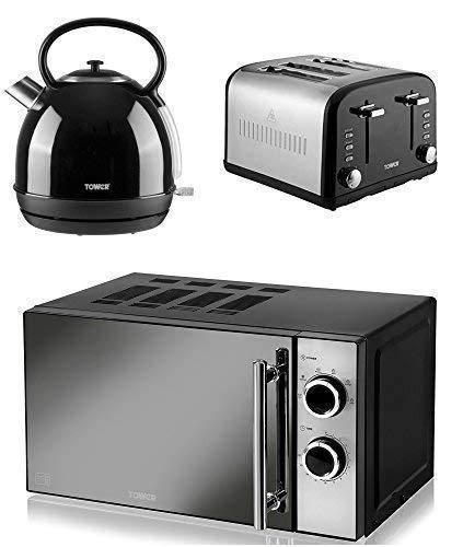 BLACK Digital 20L Microwave NEW Swan Kitchen Appliance Retro Set BLACK 1.7 Litre Dome Kettle /& BLACK Retro Stylish 4 Slice Toaster Set