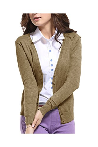 Yidarton Mujer Chaqueta De Punta Básica V Neck Con Botones Cárdigan Manga Larga Para Mujer marrón