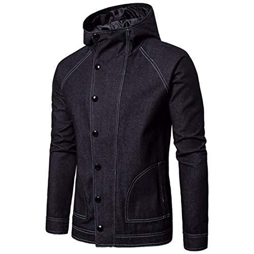 SPE969 Denim Solid Men's Hoodies Autumn Cowboy Slim Long Sleeved Blouse Jacket