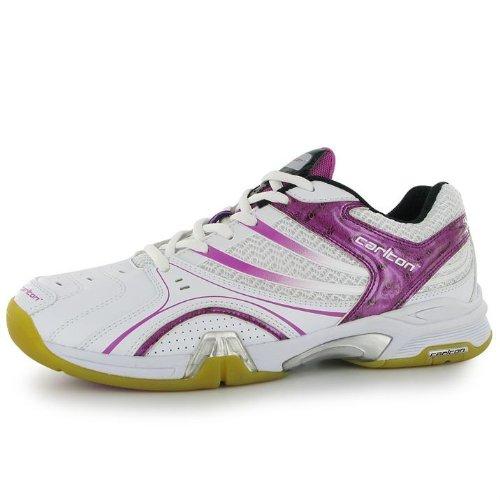 Carlton Womens Airblade Lite Ladies Scarpe Sportive Da Badminton Scarpe Da Ginnastica Bianche / Rosa