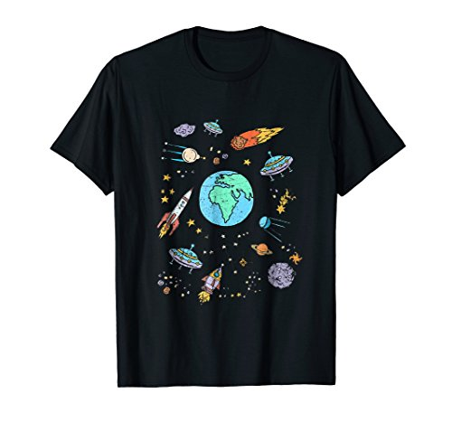 Outer Space UFO Rocket Alien Cute Geek Nerd T-shirt - Geek Girl Kids T-shirt