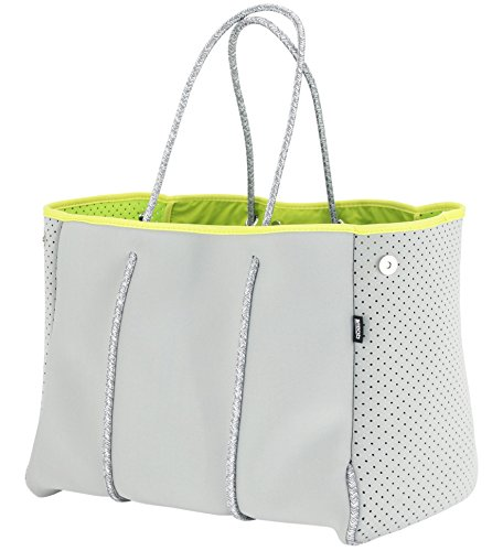 QOGiR Neoprene Multipurpose Beach Bag Tote with Inner Zipper Pocket and Movable Board (Light Grey, Large)
