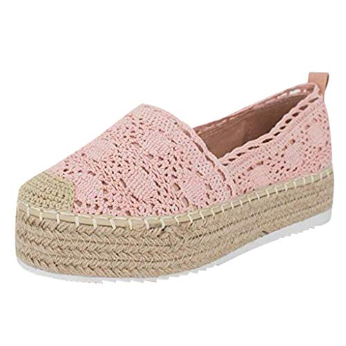 Sunhusing Womens Cutout Hemp Woven Wedge Platform Casual Sandals Hook Flower Round Toe Breathable Espadrilles Shoes Pink ()