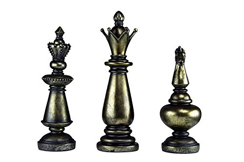 Oh! Trendy Trio of Chess Piece Statues | King, Queen, and Knight Chess Modern Home Decor Accents (Set of - Piece Chess Polyresin