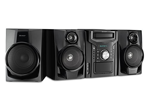 (Sharp CD-BHS1050 350W 5-Disc Mini Shelf Speaker/Subwoofer System with Cassette and Bluetooth, AM/FM Digital Tuner, USB Port for MP3 Playback, 350W RMS Power Output and 875W Peak Power, Remote)