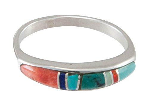 Native Indian Inlay American (Navajo Native American Turquoise Inlay Ring Size 7 by Bernadine Joe)
