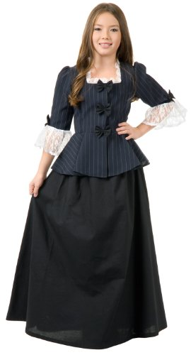 Colonial Girl Costumes For Kids (Girls MED (8-10)- Colonial Girl/Martha Washington Costume)