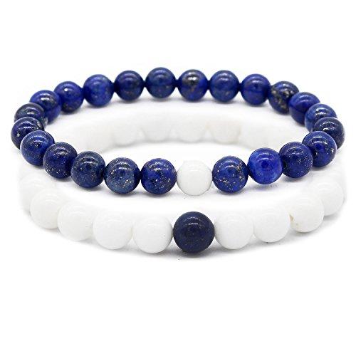 Gemfeel 8MM Lapis Lava Stone Couples Gemstone Bracelet for Women Men Energy Healing Stone, 7.6