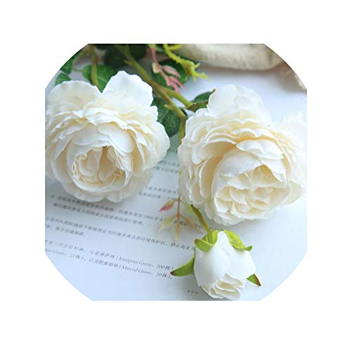 3 Heads Artificial Flowers White Peonies Silk Flowers