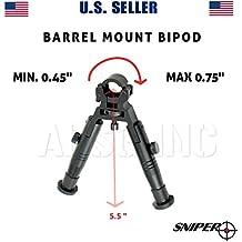Sniper Tactical High Profile Folding Barrel Clamp; Fixed Height Aluminum Bipod; Black