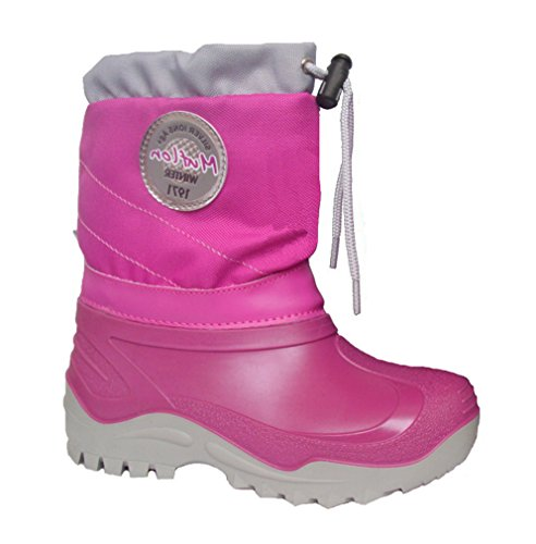 Renbut-Muflon Mädchen Schneeschuhe Boots Rosa Pink Winterschuhe Gummistiefel Matschschuhe Gefüttert mit Wolle Pink