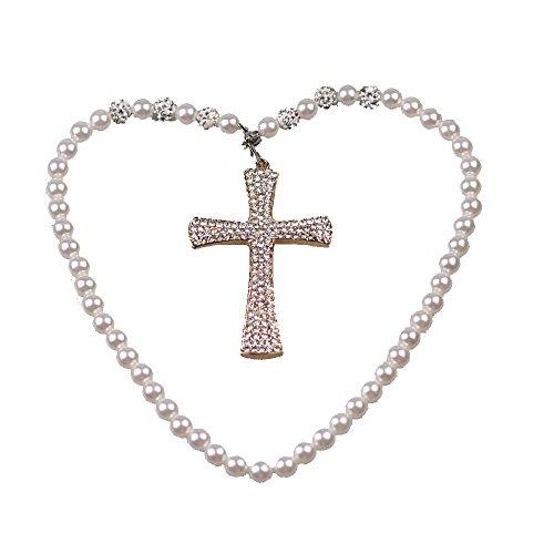 uzoho Fashion Crystal Cross Jewelry Decor Car Mirror Pendant Hanging Ornament Car Decor Car Accessories (White) -