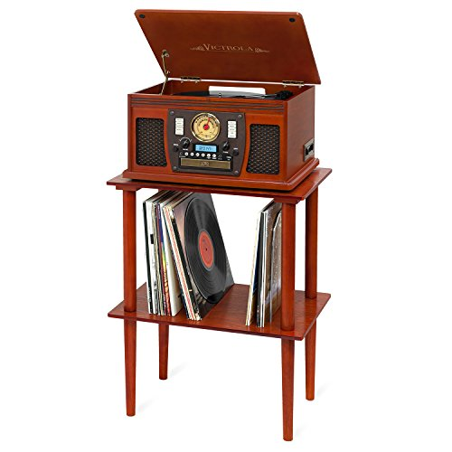 Victrola Navigator 8-in-1 Classic Bluetooth Record Player with USB Encoding and 3-Speed Turntable Bundle with Victrola Wooden Stand for Wooden Music Centers with Record Holder Shelf, Mahogany