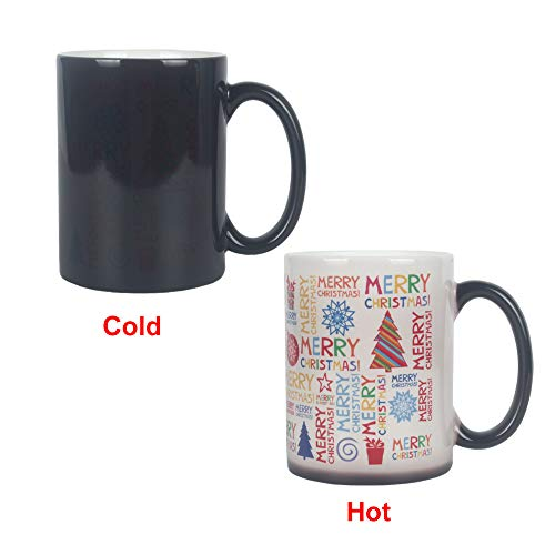 Growsun Heat Sensitive Coffee & Tea Mug Merry Christmas Funny Magic Color Changing Cup For Christmas Gift Idea