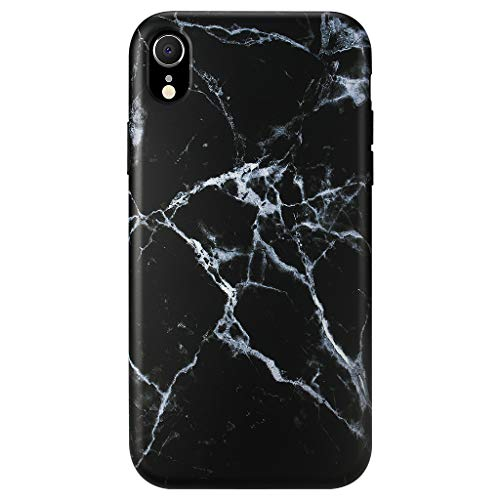 GOLINK Case for iPhone XR, Matte Finish Marble Series Slim-Fit Ultra-Thin Anti-Scratch Shock Proof Dust Proof Anti-Finger Print TPU Gel Case for iPhone XR 6.1 inch(Black Marble)