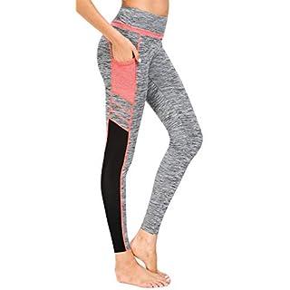 Munvot Women's Active Mesh Yoga Pants Running Pants Workout Leggings with Side Pocket S