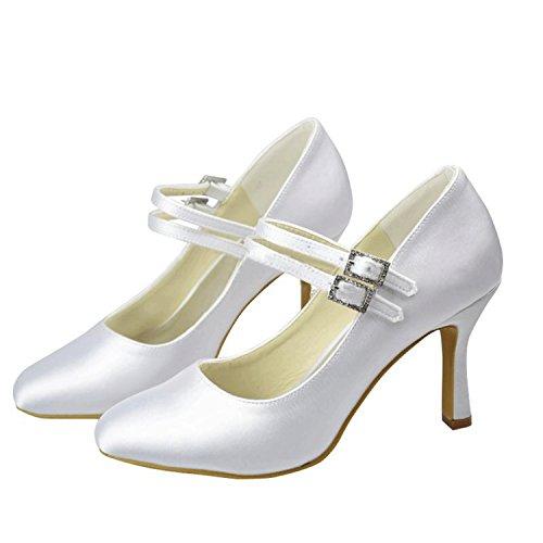 Minishion Delle Donne Mary Jane Fibbia In Raso Da Sposa Scarpe Da Sera Da Sposa Scarpe Bianco-9.5cm Tacco