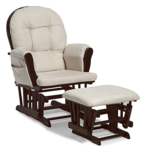 Stork Craft Hoop Glider and Ottoman Set, Espresso/Beige - Furniture Rocking Chair