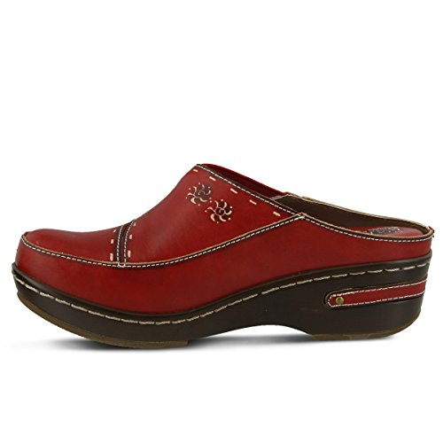 Leather Clog Women's Painted Chino Red L'ARTISTE Hand H0pqw
