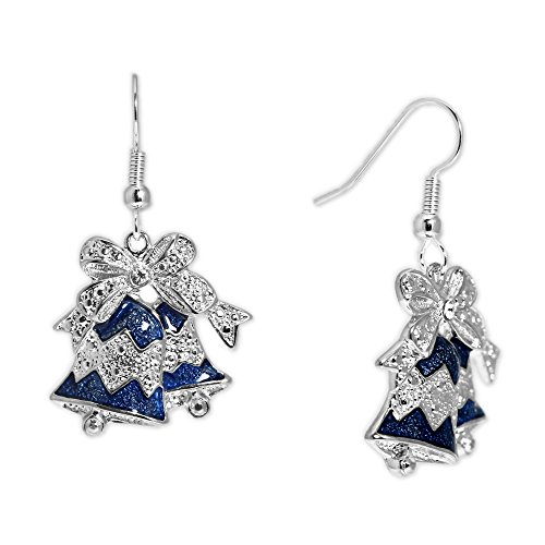 Blue Bells Topped w/ Bow & Clear Crystal Earrings in Silver Tone,