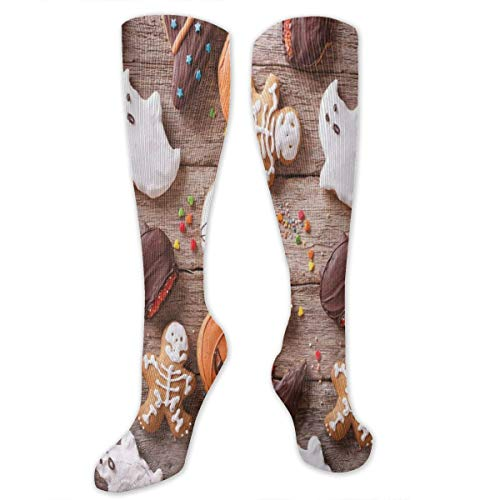 Compression Socks,Sweets Covered In Chocolate Dipped In Frosting Halloween Theme Ghosts And Pumpkins]()