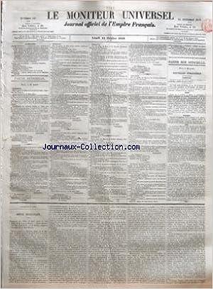 MONITEUR UNIVERSEL (LE) [No 297] du 24/10/1859 - SOMMAIRE - PARTIE OFFICIELLE - NOMINATION Dâ UNE CHANOINE DU PREMIER ORDRE AU CHAPITRE IMPERIAL DE SAINT DENIS - DECRETS RELATIFS A Lâ EXECUTION DES TRAVAUX NECESSAIRES - POUR Lâ EXHAUSSEMENT DE LA RETENUE