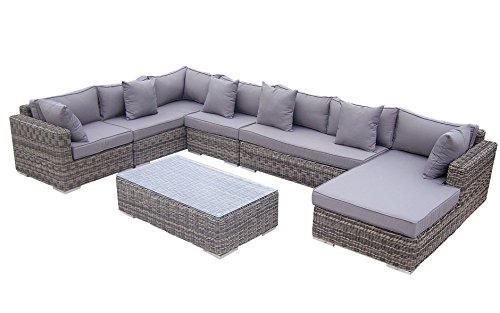 Rattan lounge grau rund  Baidani Rattan Lounge-Garnitur Perfection aus der Collection Ronde ...