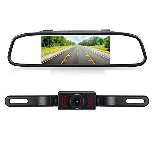 RAAYOO High Definition Color Wide Viewing Angle License Plate Car Rear View Camera with 4.3