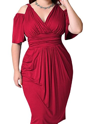 Out Shoulder Coolred Dress Plus Accept Low Waist Bodycon Off Size Red Women RnO6gI