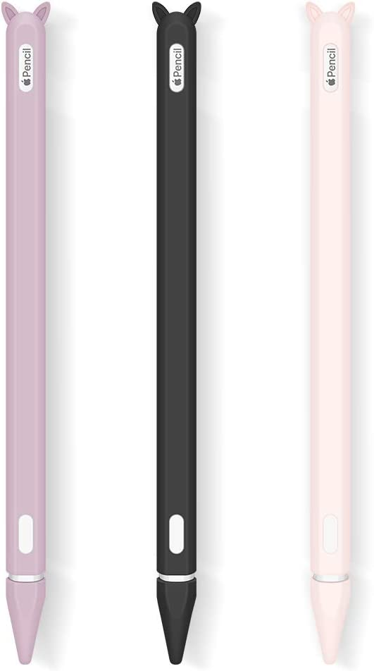 3 Pack Silicone Case for Apple Pencil 2nd Generation Holder Sleeve Skin Cover Accessories for iPad Pro 11 12.9 inch 2018,Cute Soft Grip Pouch Cap Holder and 3 Protective Nib Covers-Purple,Pink,Black