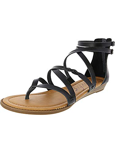 Blowfish Women's Bungalow Wedge Sandal (6, Black Dyecut)