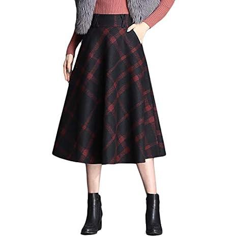 Yujingc Falda a Cuadros de Lana de una línea para Mujer Falda de ...